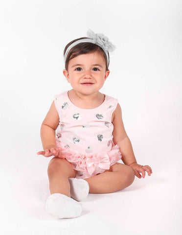 Popatu Silver Heart Peach Bodysuit - Popatu pageant and easter petti dress