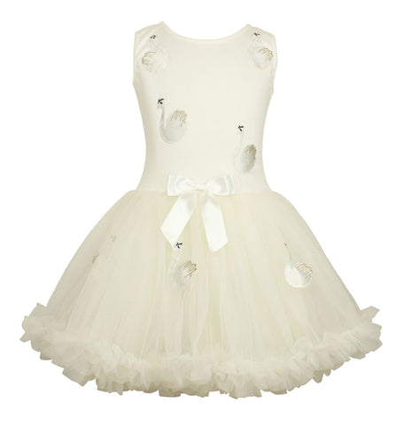 Popatu White Swan Ruffle Petti Dress - Popatu pageant and easter petti dress