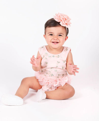 Popatu Floral Baby Ruffle Bodysuit - Popatu pageant and easter petti dress