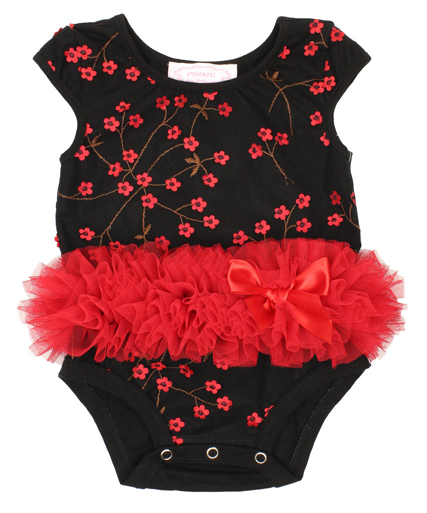 Popatu Black and Red Mini Flower Bodysuit - Popatu pageant and easter petti dress