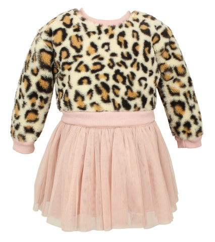 Popatu Baby Girls Dusty Rose Tulle Dress With Leopard Sweater - Popatu pageant and easter petti dress