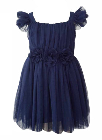 Popatu Baby Girls Dark Blue Tulle Dress - Popatu pageant and easter petti dress