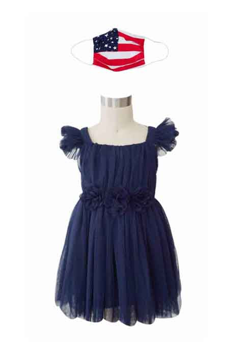 USA NAVY DRESS + USA FABRIC FACE MASK - Popatu pageant and easter petti dress