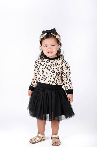 Popatu Baby Girls Black Leopard Sweater With Tulle Skirt - Popatu pageant and easter petti dress
