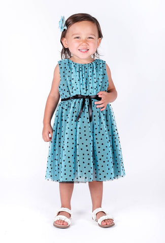 Popatu Baby Girls Turquoise Tulle Dress - Popatu pageant and easter petti dress