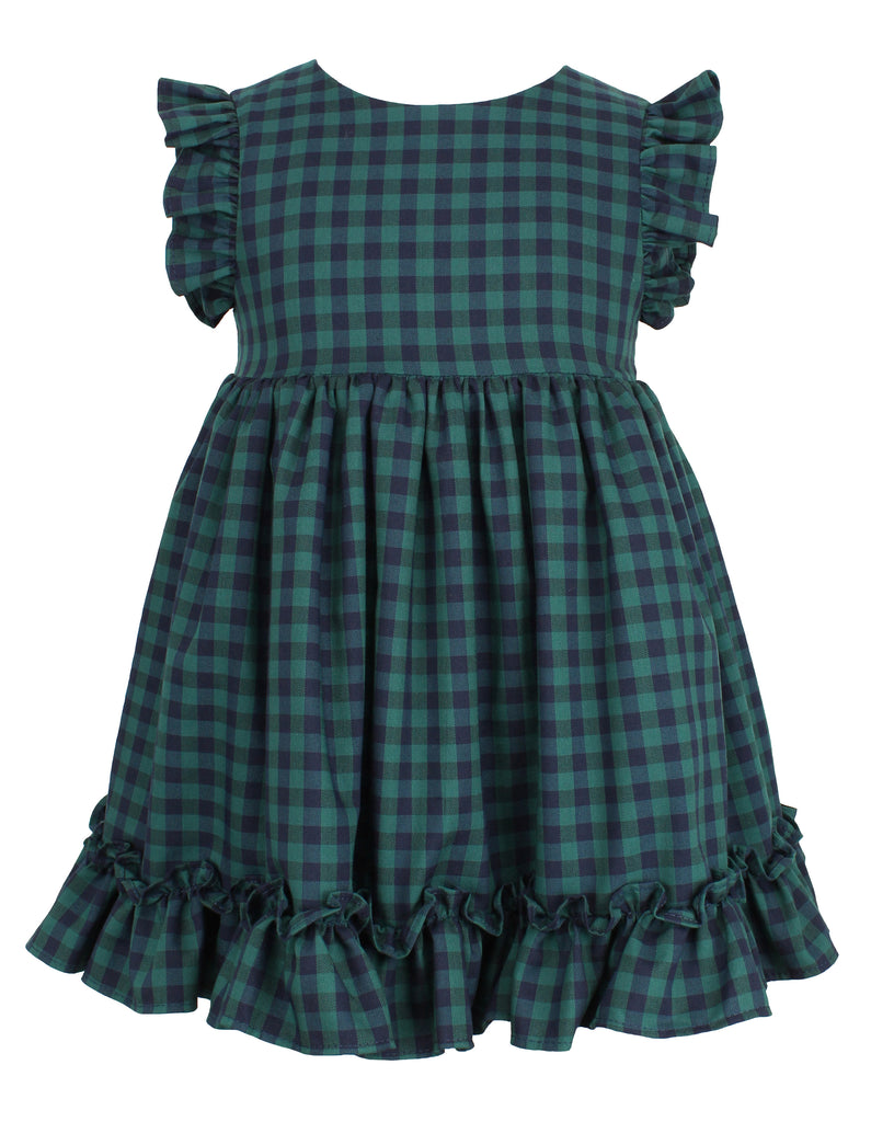 Popatu Baby Girls  Green Check Dress - Popatu pageant and easter petti dress