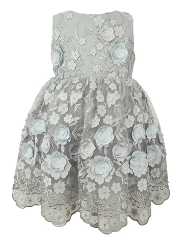 Popatu Silver Flower Applique Dress - Popatu pageant and easter petti dress