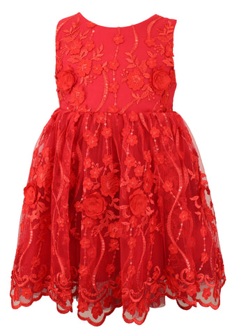 Popatu Red Flower Applique Dress - Popatu pageant and easter petti dress