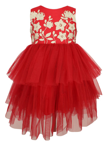 Red Tulle Dress with Gold Embroidered Flowers