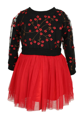 Mini Flower Black Sweater with attached Red Tulle Skirt - Popatu pageant and easter petti dress