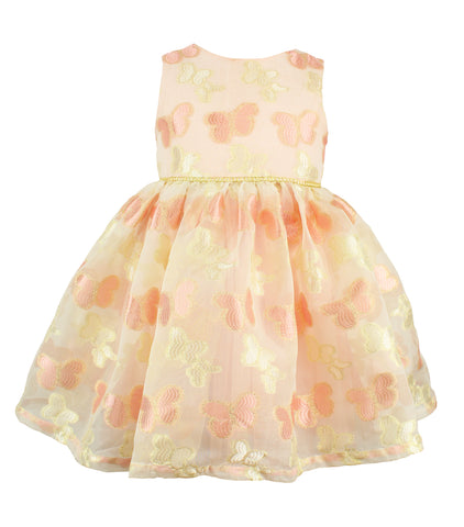 Little Girl's Peach Butterfly Dress - Popatu pageant and easter petti dress