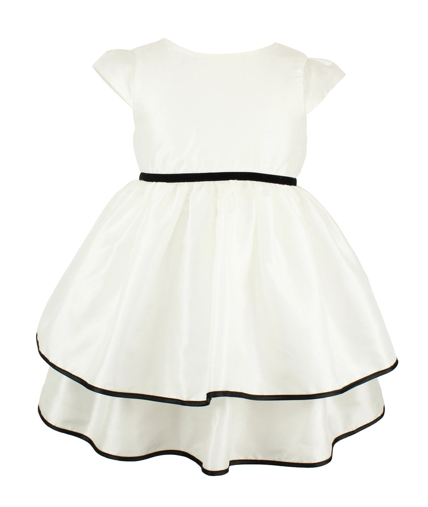 Popatu Little Girl's White Two-Tier Dress - Popatu pageant and easter petti dress