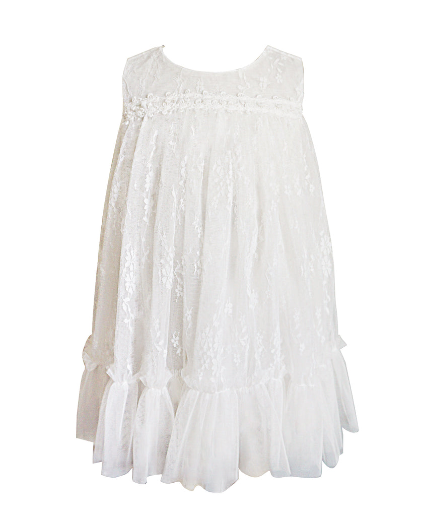 Little Girls White Lace Shift Dress - Popatu pageant and easter petti dress