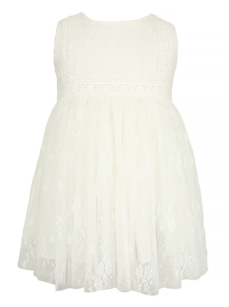 Baby Girl's White Tulle Dress - Popatu pageant and easter petti dress