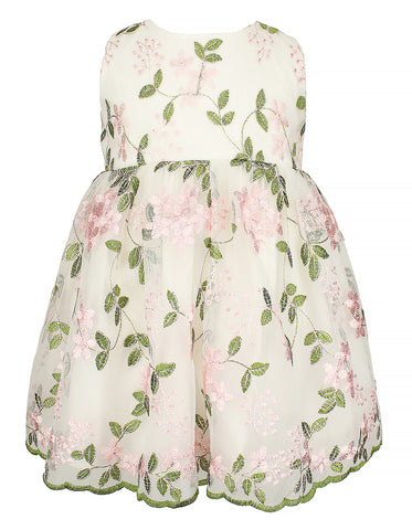 Baby Girl's Elegant Flower Embroidered White Dress - Popatu pageant and easter petti dress