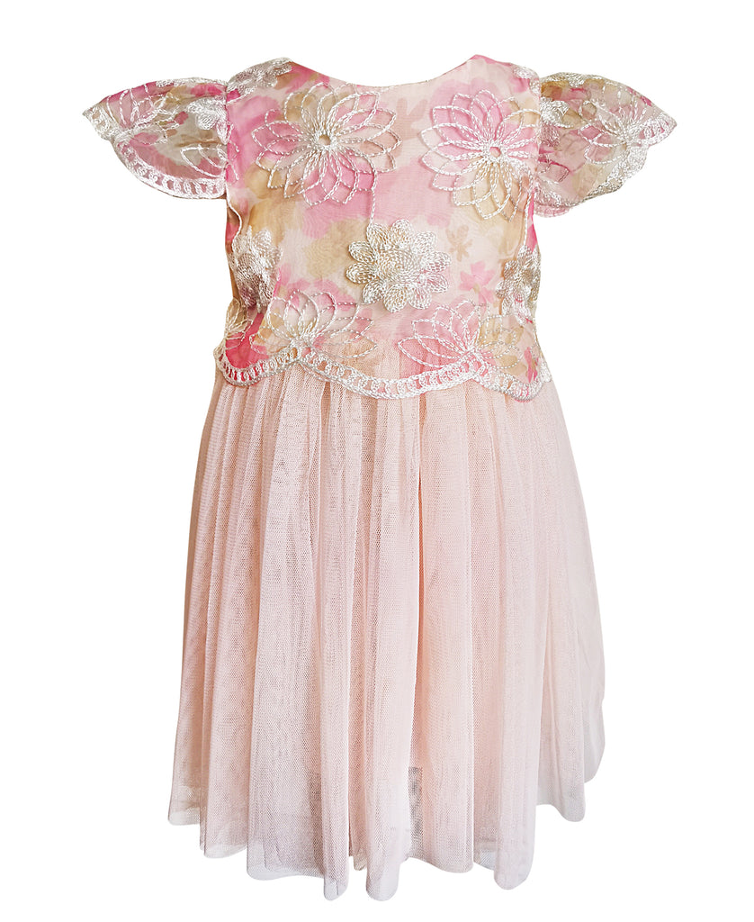 Flutter Sleeve Flower Dress - Popatu pageant and easter petti dress