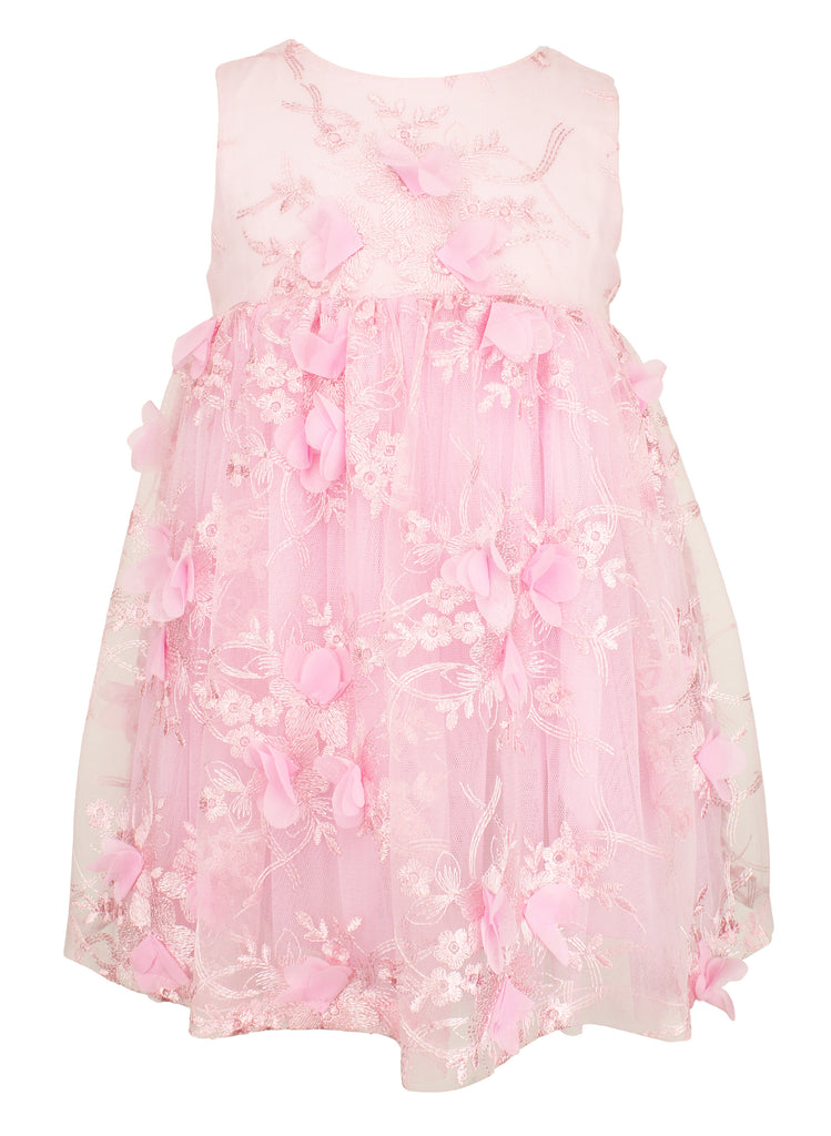 Pink Embroidered Flower Girl Dress - Popatu pageant and easter petti dress