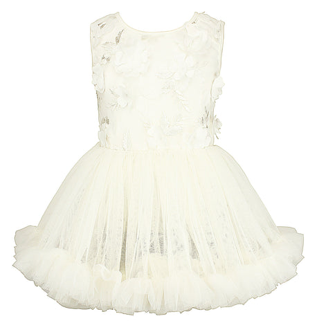 Popatu White Flower Applique Petti Dress - Popatu pageant and easter petti dress