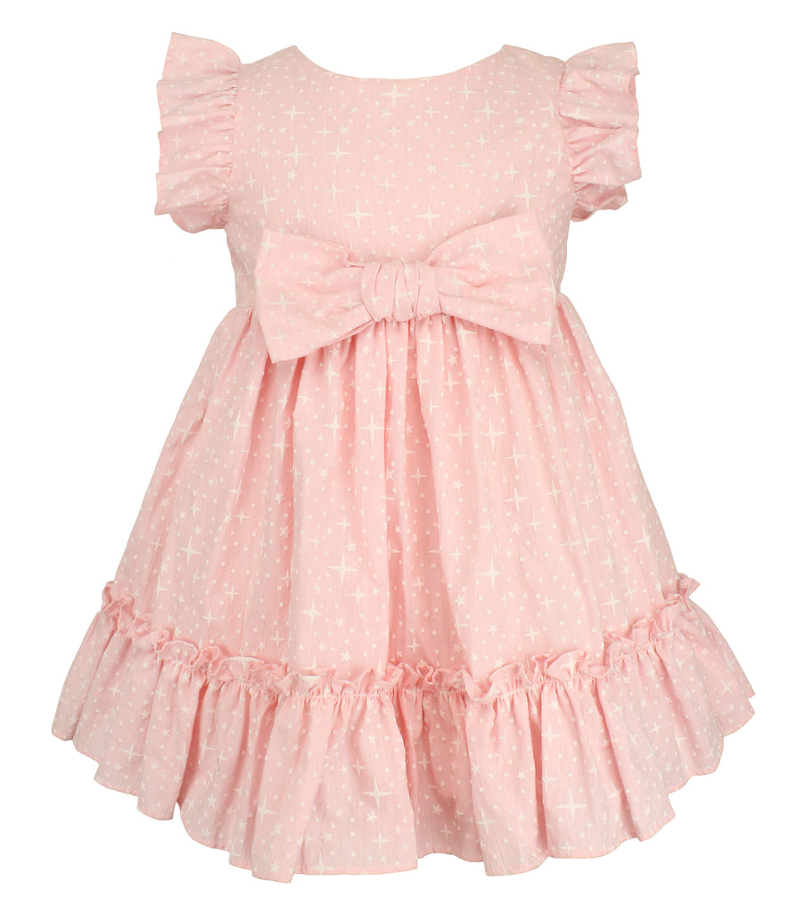 Girl's Peach Big Bow Dress - Popatu pageant and easter petti dress