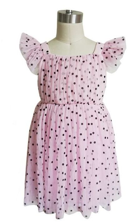 Pink Dotted Tulle Dress - Popatu pageant and easter petti dress