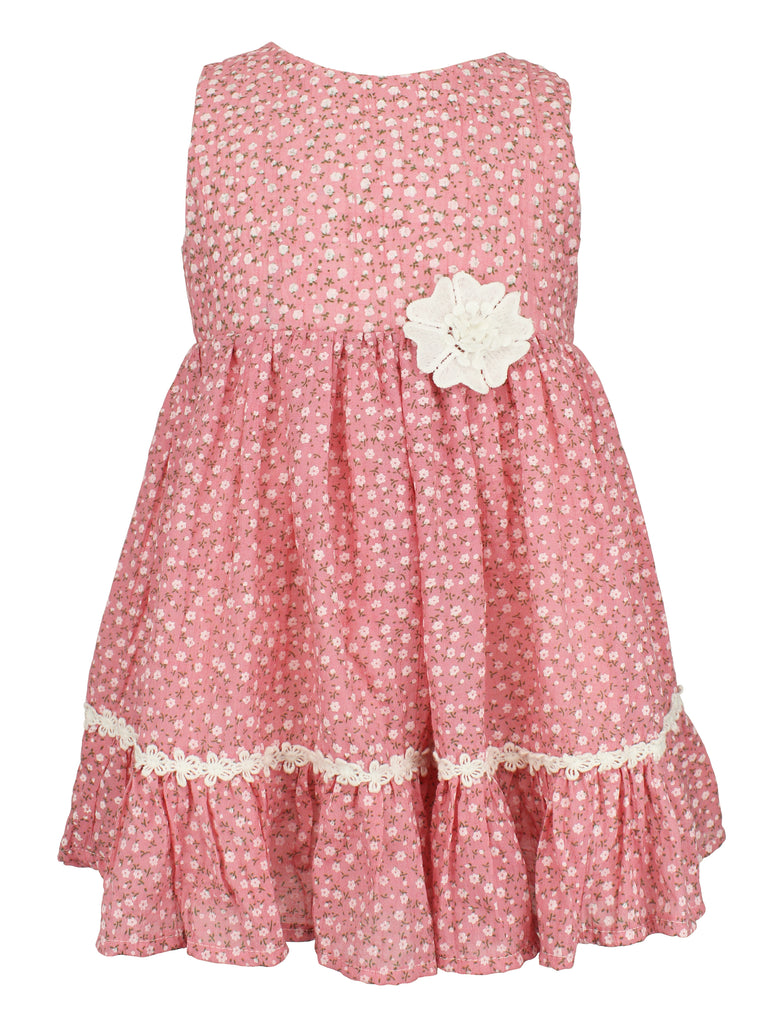Baby Girl's Mini Flower Dress with Lace Trim