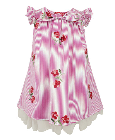 Popatu Hotpink Floral Stripe Dress