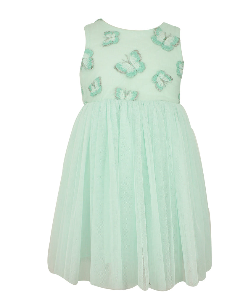 Popatu Mint Butterfly Tulle Dress - Popatu pageant and easter petti dress