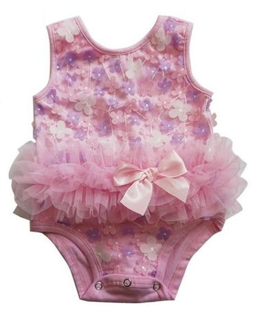Popatu Pink and Purple Mini Flower Baby Bodysuit - Popatu pageant and easter petti dress