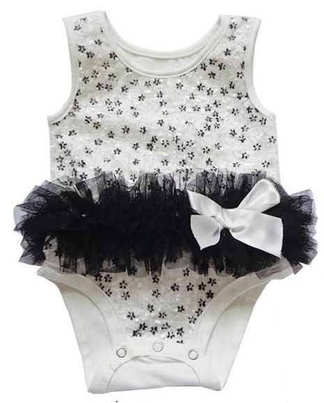Popatu White and Black Flower Bodysuit - Popatu pageant and easter petti dress