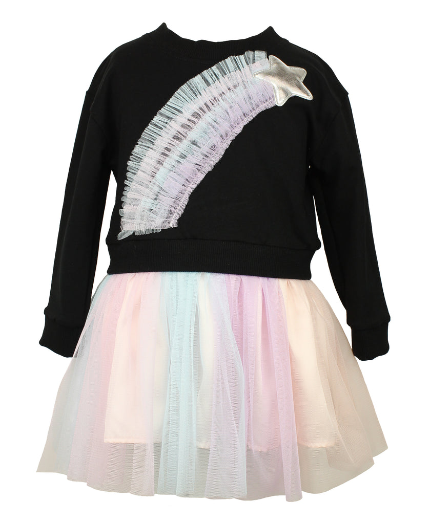 Long Sleeve Ruffle Rainbow Tulle Dress with Golden Star