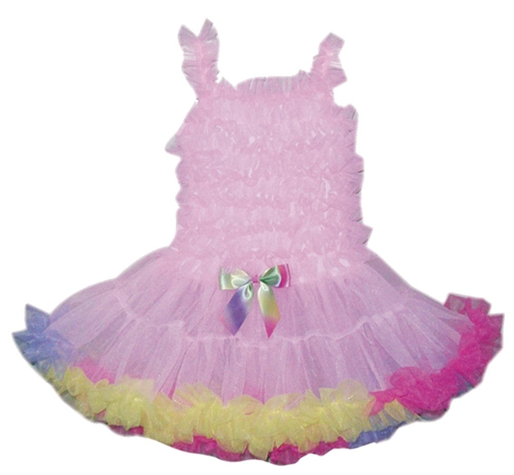 Pochew Tutu Dress with Rainbow Ruffles for Dress-Up Play - Popatu pageant and easter petti dress