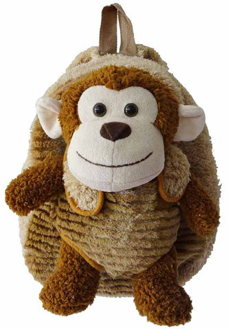 Brown Backpack with Monkey Plush