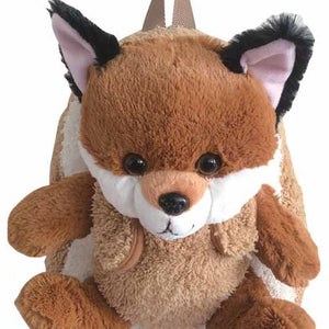 Popatu Brown Backpack with Baby Fox Plush      THIS IS NOT A ROLLING BACKPACK