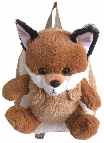 Brown Backpack with Baby Fox Plush