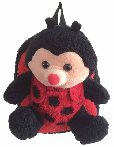 Black and Red Lady Bug Backpack with Removeable Plush