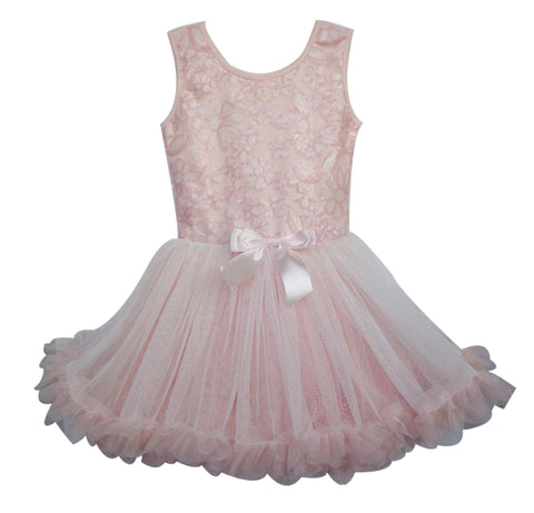 Popatu Little Girls  Peach Dasiy Ruffle Dress - Popatu pageant and easter petti dress