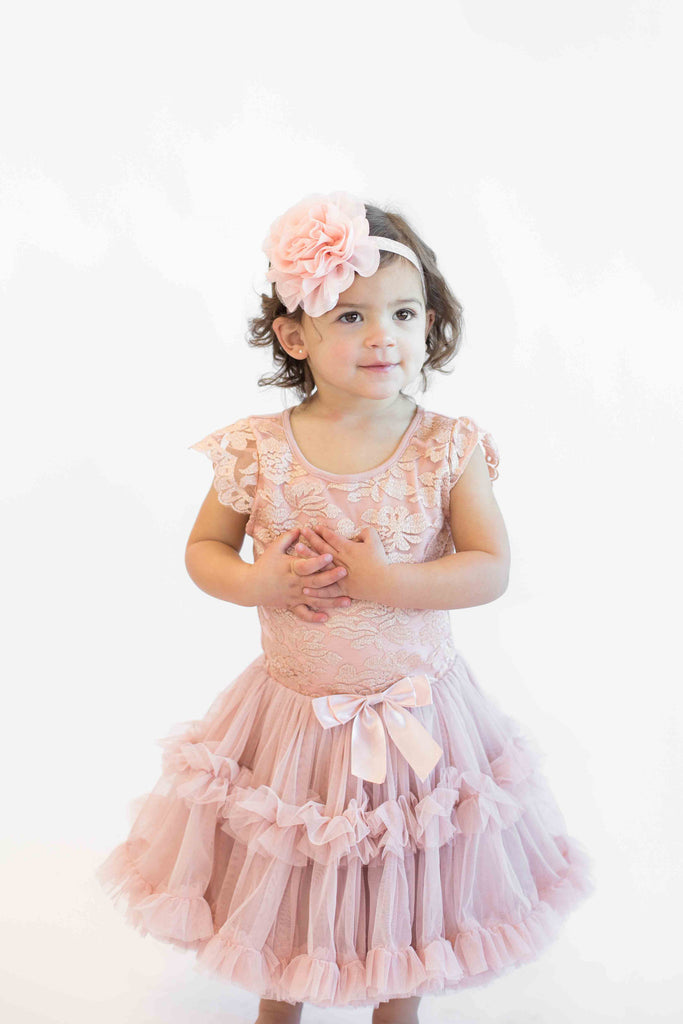 Popatu Girls Vintage Blush Lace Petti Dress - Popatu pageant and easter petti dress