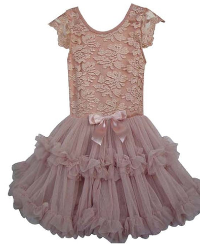 Popatu Baby Girls Vintage Blush Lace Ruffle Dress - Popatu pageant and easter petti dress