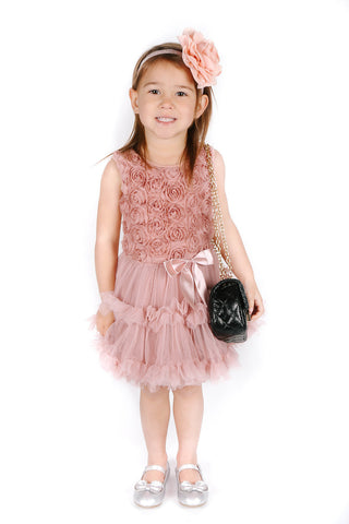Popatu Little Girls Vintage Rose Petti Dress - Popatu pageant and easter petti dress