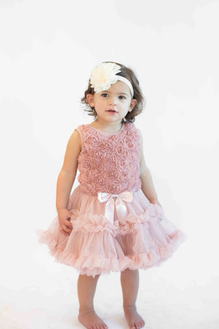 Popatu Baby Girls Vintage Rose Ruffle Dress - Popatu pageant and easter petti dress