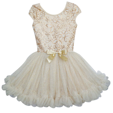 Popatu Baby Petti Ruffle Dress Gold Floral Sequin - Popatu pageant and easter petti dress