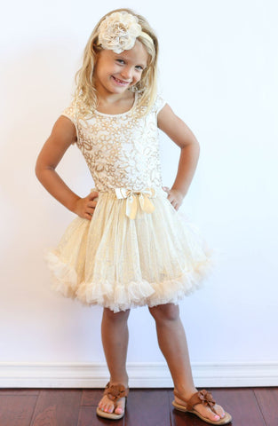 Popatu Little Girls Gold Floral Sequin Petti Dress - Popatu pageant and easter petti dress
