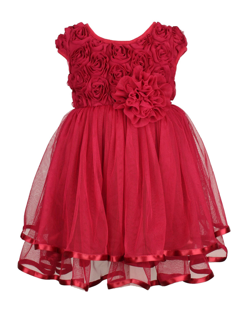 Popatu Little Girls Burgundy Rose Bud Tier Dress - Popatu pageant and easter petti dress