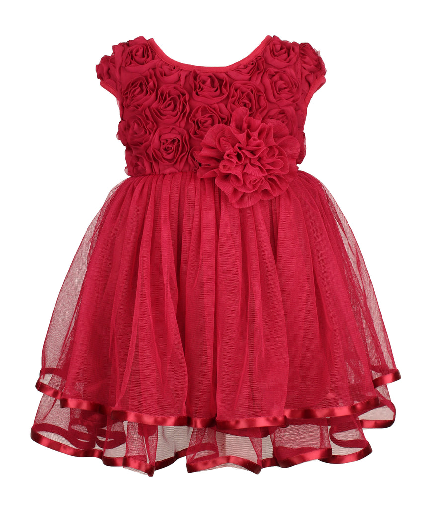 Popatu Baby Burgundy Rose Bud Tier Dress - Popatu pageant and easter petti dress