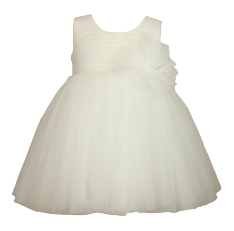 Popatu White Elegant Baby Tulle Dress - Popatu pageant and easter petti dress