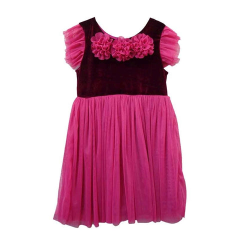 Popatu Burgundy  Velvet Tulle Dress
