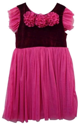 Popatu Burgundy  Velvet Tulle Dress - Popatu pageant and easter petti dress