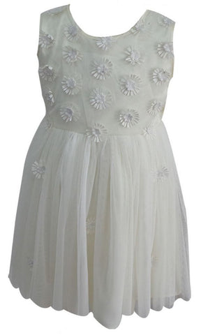 Popatu Little Girl White Daisy Tulle Dress - Popatu pageant and easter petti dress