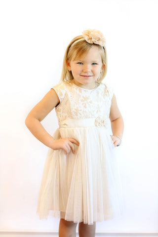 Popatu Little Girls Ivory Sequin Dress - Popatu pageant and easter petti dress