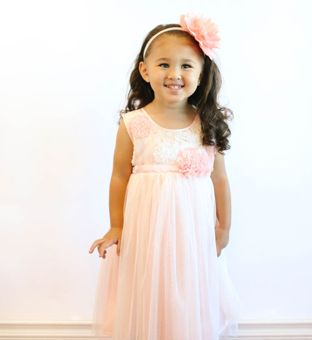 Popatu Little Girls Golden Flower Tulle Dress - Popatu pageant and easter petti dress